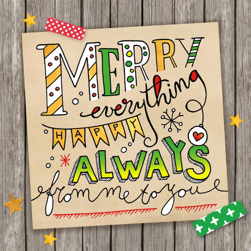 Kerstkaarten - Kerstkaart lettering Merry everything