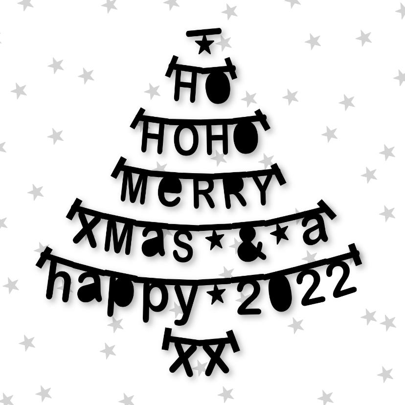 Kerstkaarten - Kerstkaart letterslinger boom zwartwit