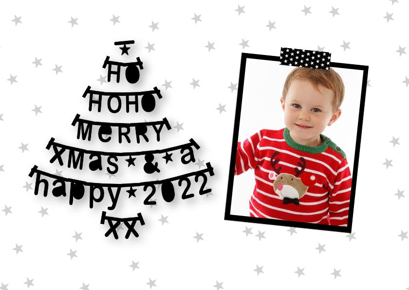 Kerstkaarten - Kerstkaart letterslinger foto zwartwit