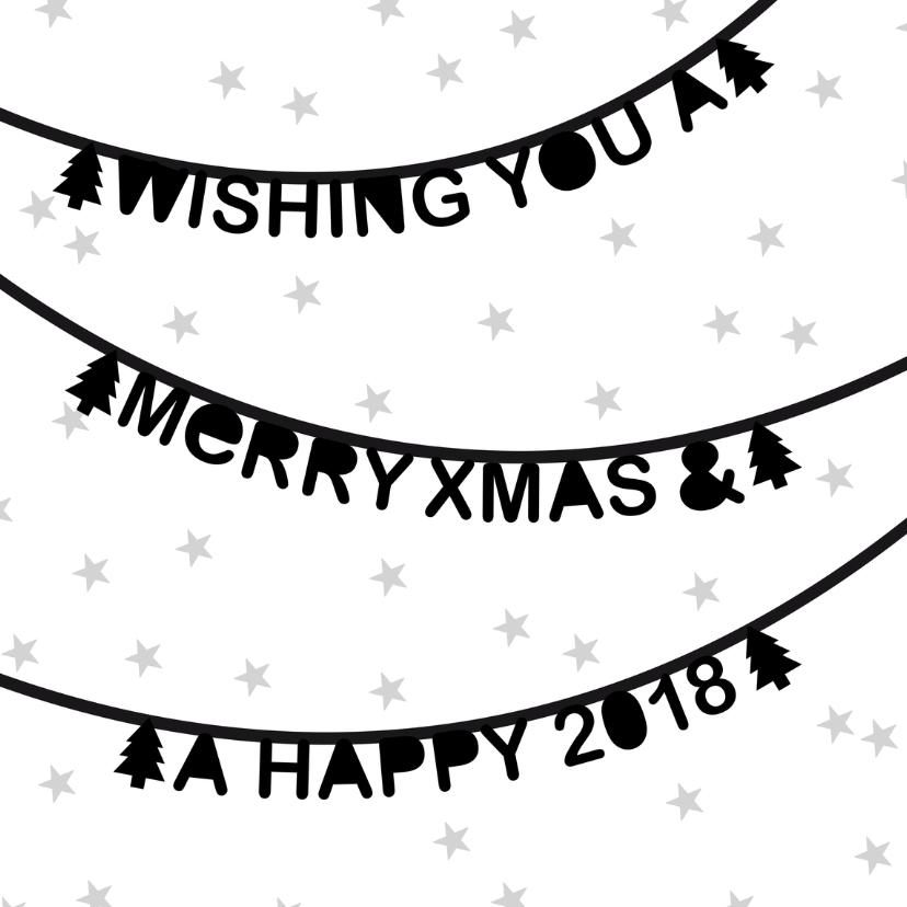Kerstkaarten - Kerstkaart letterslinger sterren