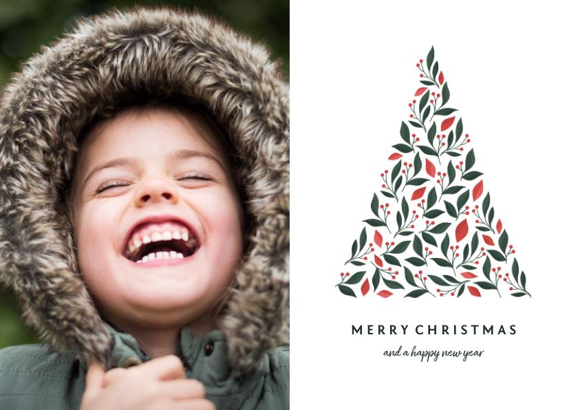 Kerstkaarten - Kerstkaart licht met foto en botanische kerstboom
