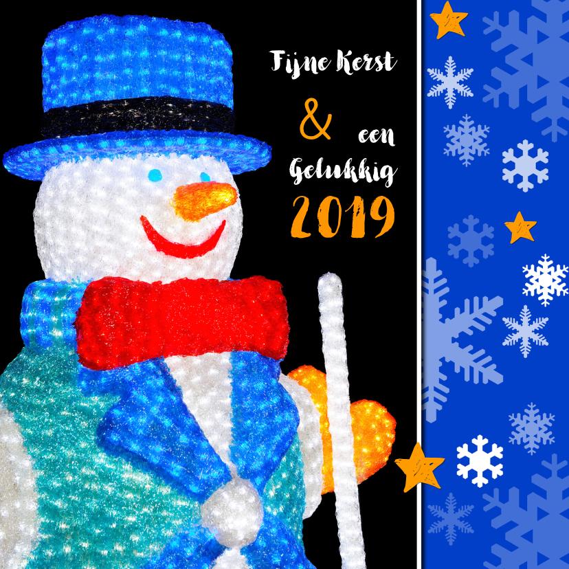 Kerstkaarten - Kerstkaart Lichtjes Sneeuwpop OT