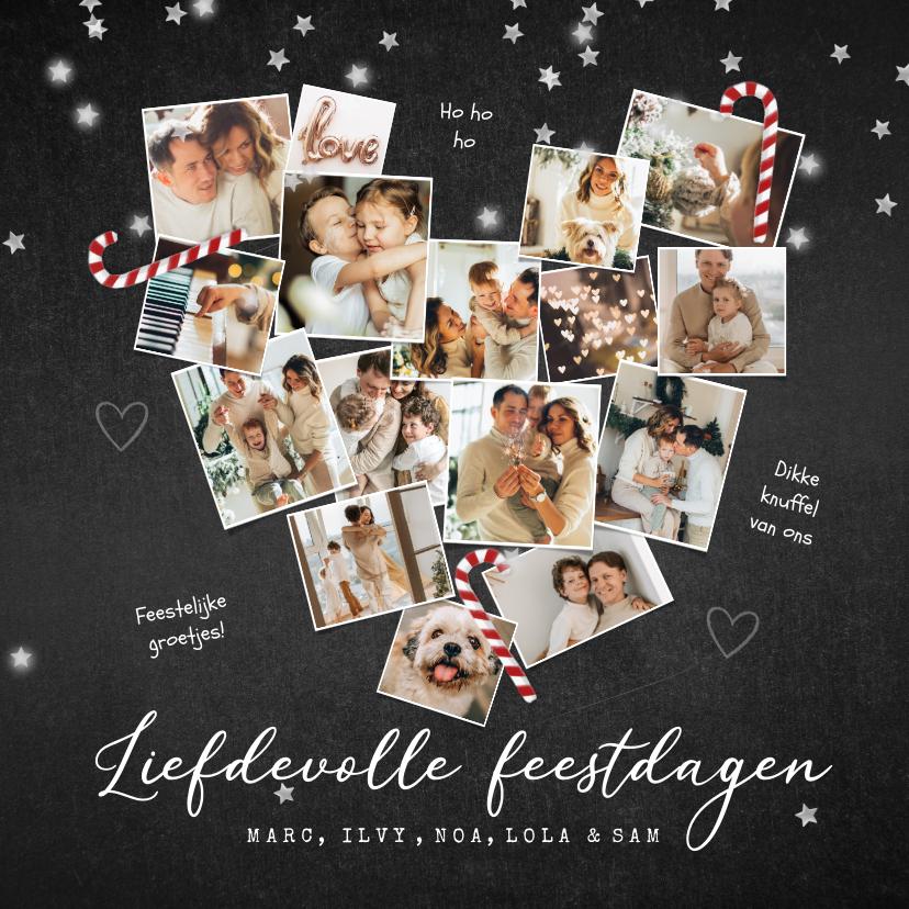 Kerstkaarten - Kerstkaart liefde hart fotocollage zuurstok krijt sterren