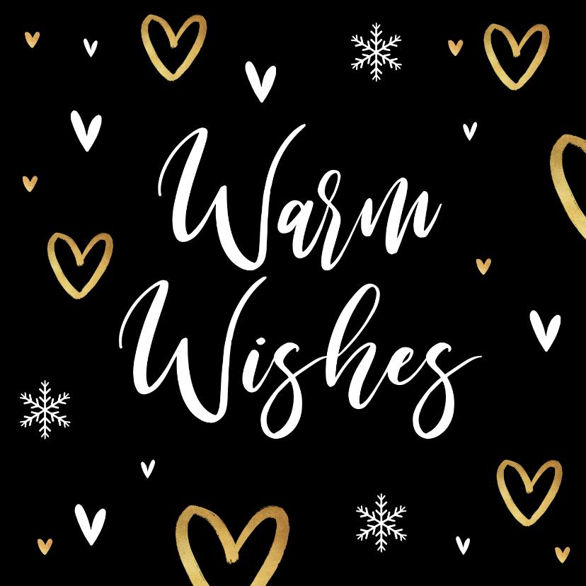 Kerstkaarten - Kerstkaart liefde hartjes goud warm wishes