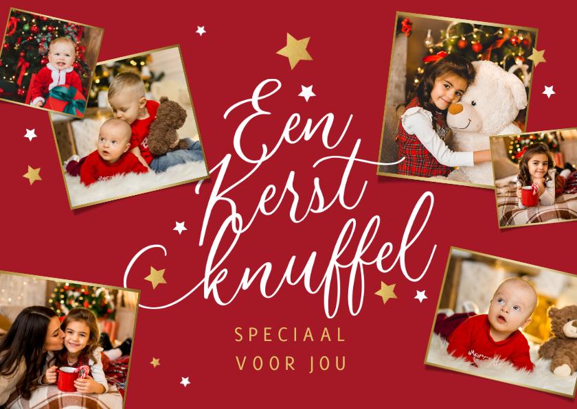 Kerstkaarten - Kerstkaart liefdevol fotocollage kerstknuffel goud sterren
