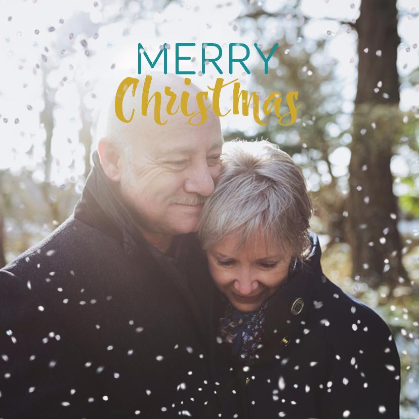 Kerstkaarten - Kerstkaart liefdevolle kerst en sneeuwvlokjes effect