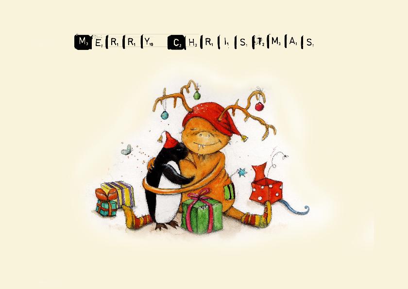 Kerstkaarten - Kerstkaart lieve kerstelf knuffels