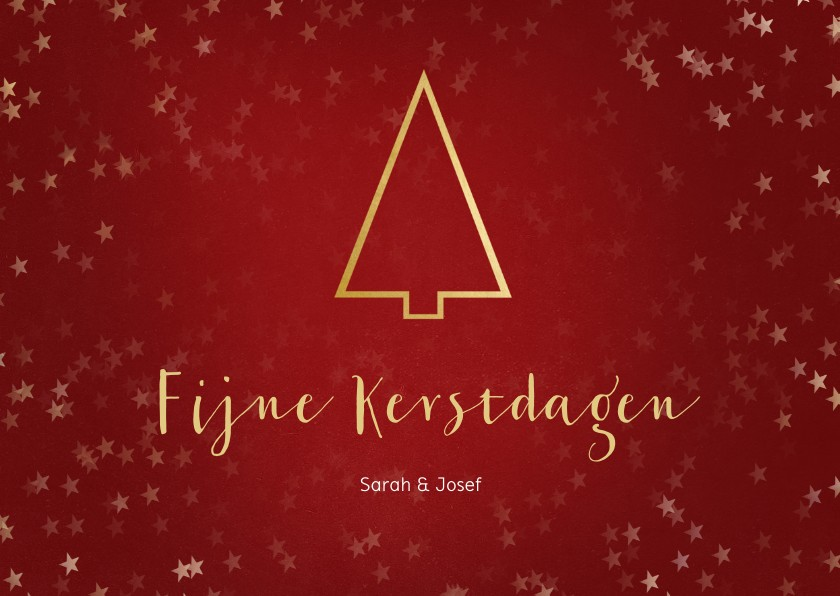 Kerstkaarten - Kerstkaart liggend met gouden kerstboom - Een gouden kerst