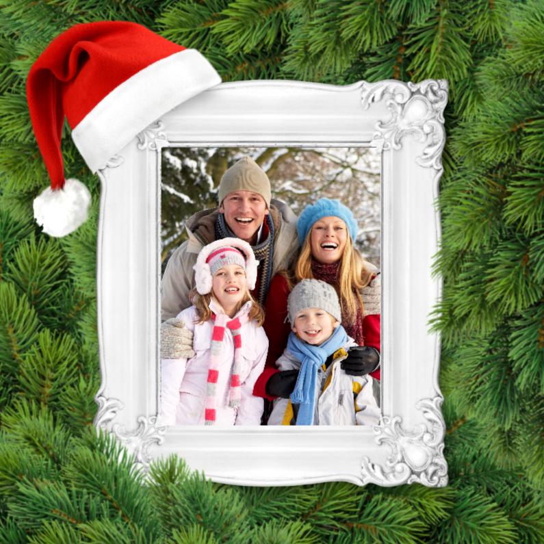 Kerstkaarten - Kerstkaart-Lijst-kerstmuts-takken