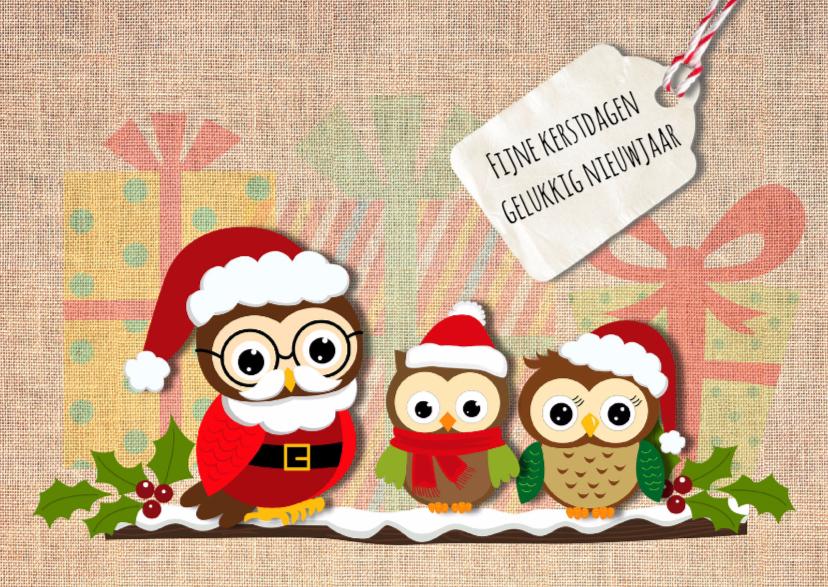 Kerstkaarten - Kerstkaart linnen met uiltjes