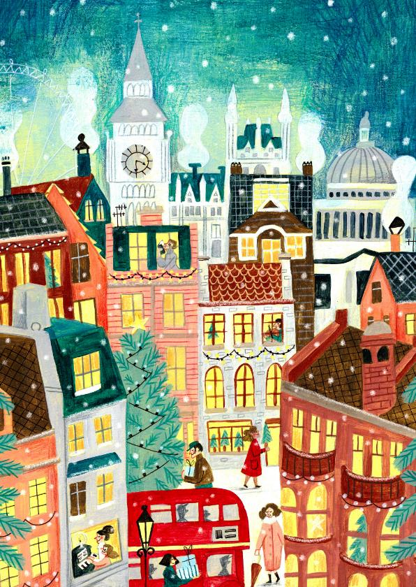 Kerstkaarten - Kerstkaart London in de sneeuw