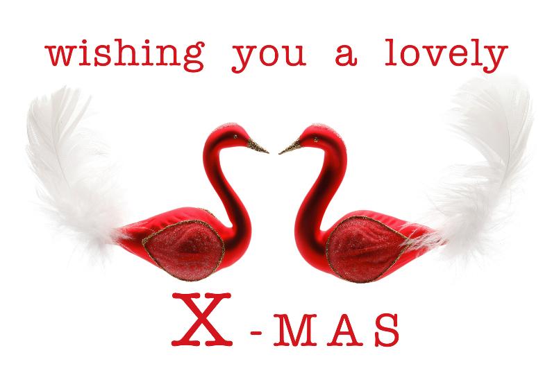 Kerstkaarten - Kerstkaart lovely X-mas rode zwaantjes