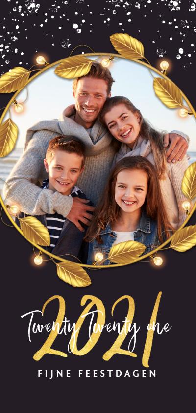 Kerstkaarten - Kerstkaart luxe goud 2020 fijne feestdagen bladeren foto
