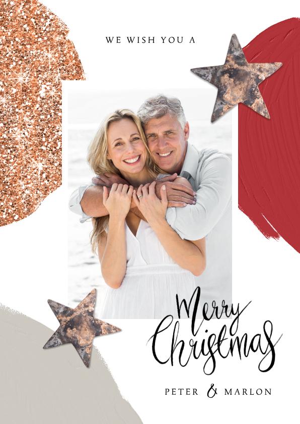 Kerstkaarten - Kerstkaart luxe stijlvol foto glitter sterren rood