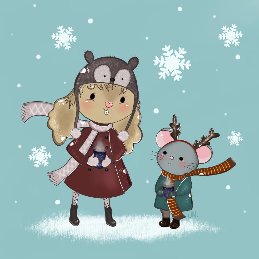 Kerstkaarten - Kerstkaart Maple and Chestnut Sneeuwvlokjes
