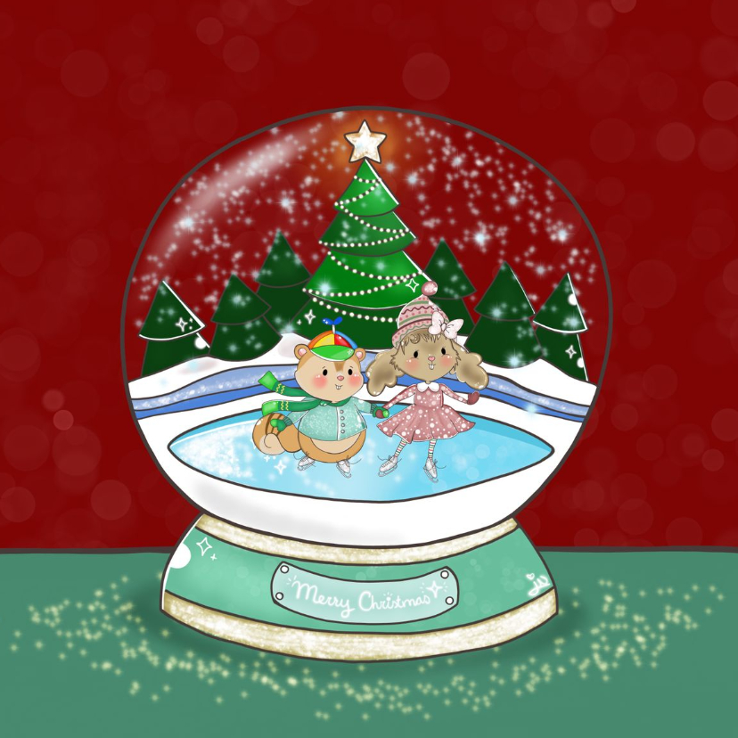 Kerstkaarten - Kerstkaart Maple and Chestnut Snow Globe