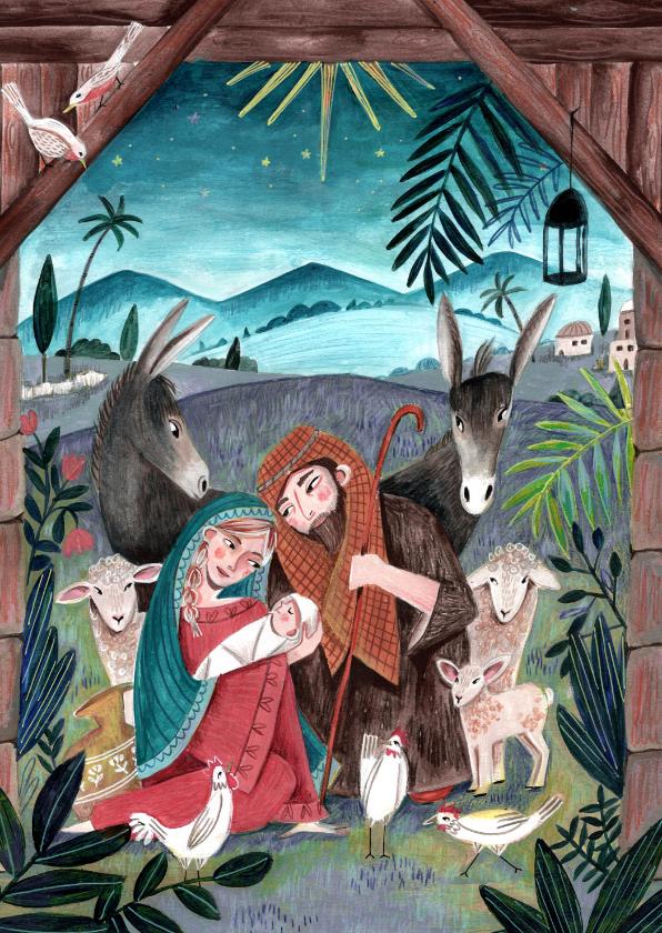 Kerstkaarten - Kerstkaart Maria en Jozef bij het stalletje