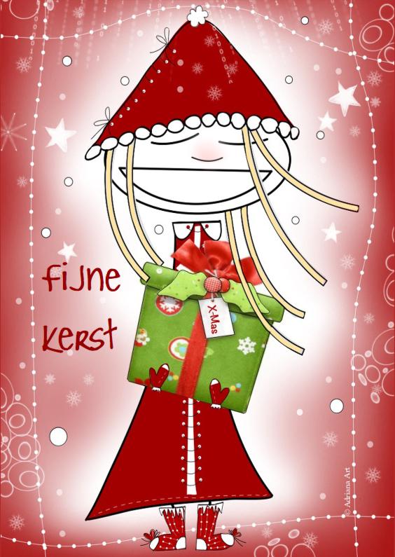 Kerstkaarten - Kerstkaart meisje met cadeau