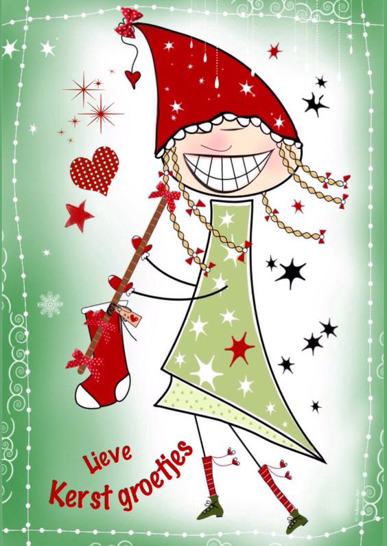 Kerstkaarten - Kerstkaart meisje met kerstsok