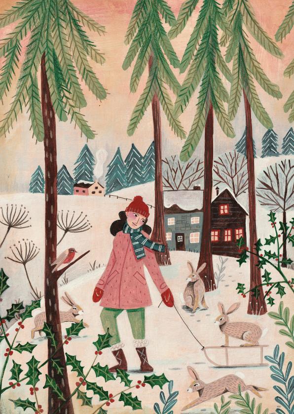 Kerstkaarten - Kerstkaart meisje met konijnen in het bos