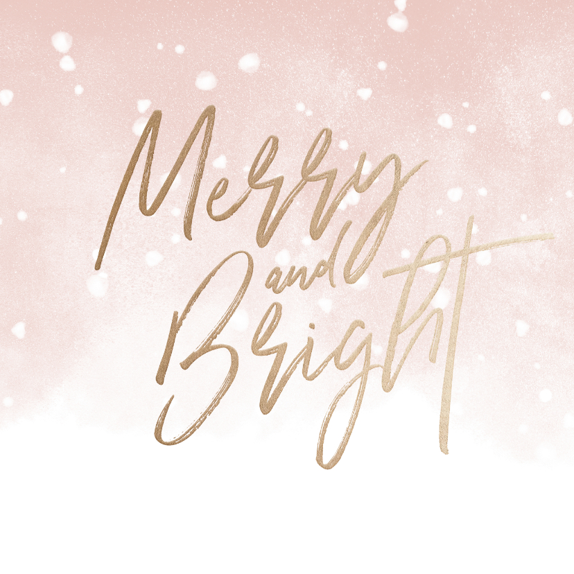 Kerstkaarten - Kerstkaart Merry and Bright met waterverf en sneeuw