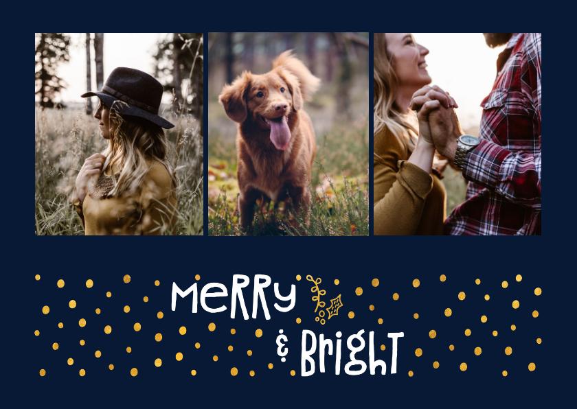 Kerstkaarten - Kerstkaart 'merry & bright' goudlook met foto's