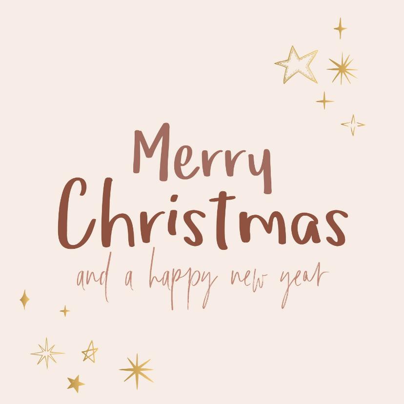 Kerstkaarten - Kerstkaart Merry Christmas and a happy new year gouden ster