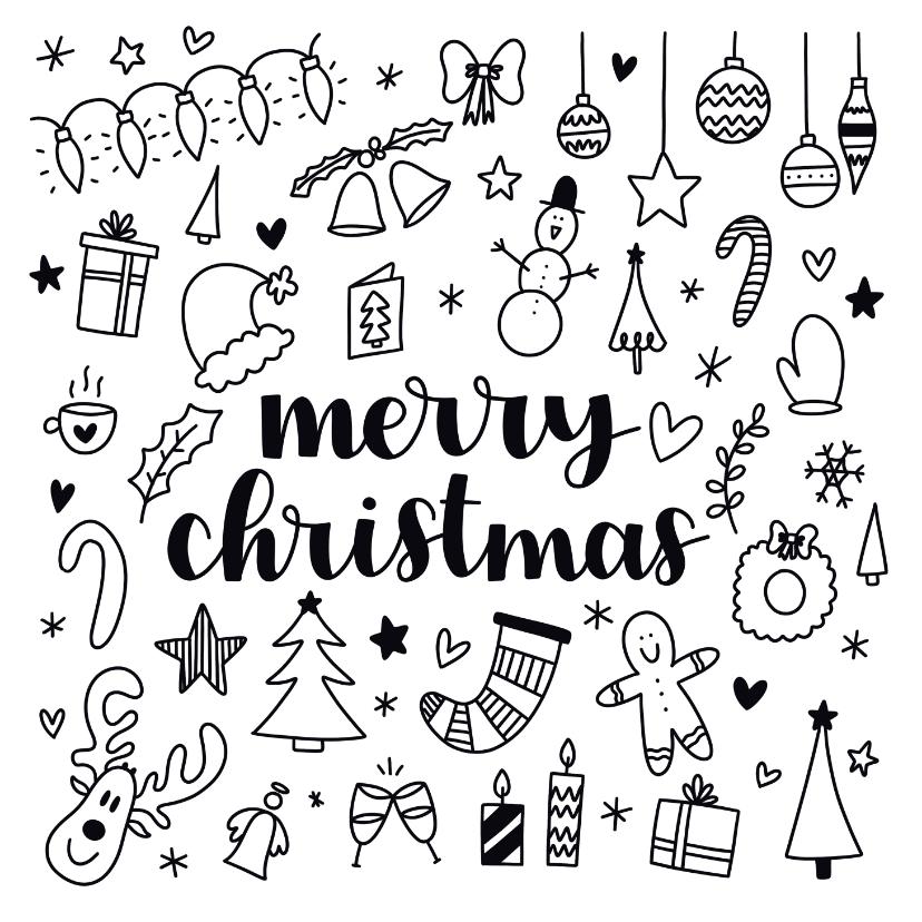 Kerstkaarten - Kerstkaart - Merry Christmas doodles