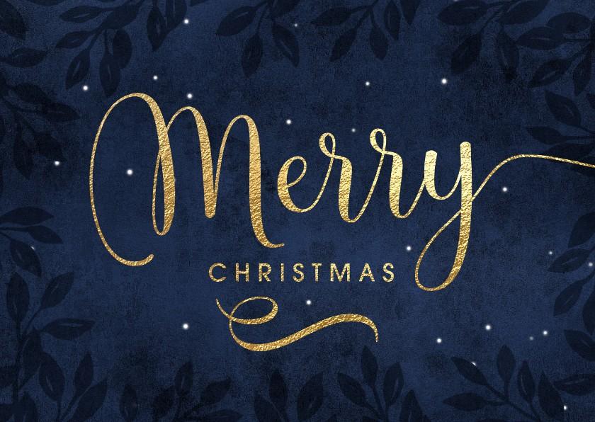 Kerstkaarten - Kerstkaart Merry Christmas goud blauw