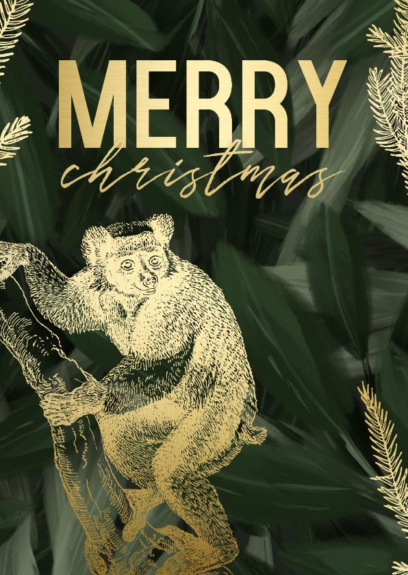 Kerstkaarten - Kerstkaart merry christmas met gouden aapje