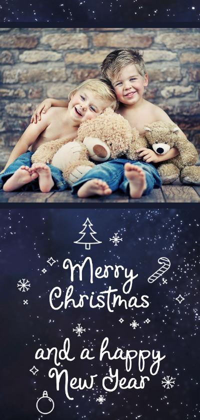 Kerstkaarten - Kerstkaart Merry Christmas sneeuw en foto
