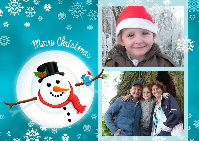 Kerstkaart Merry Snowman 1