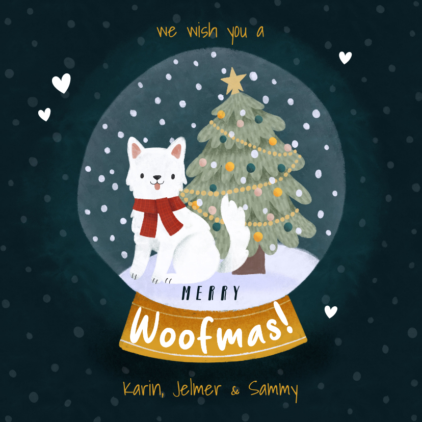 Kerstkaarten - Kerstkaart Merry Woofmas met hondje, kerstboom en sneeuwbol