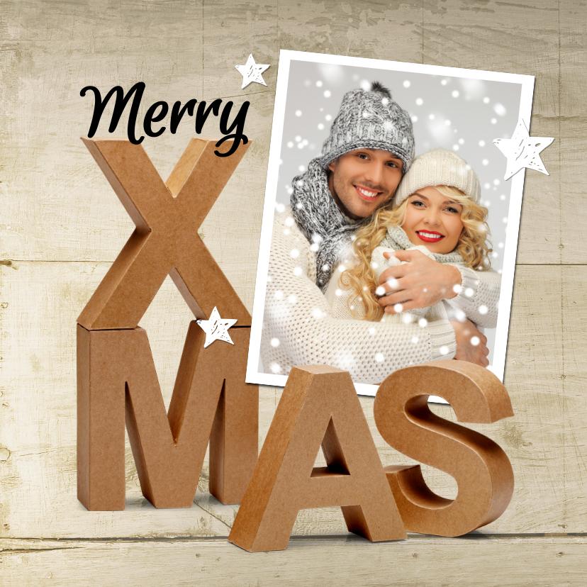 Kerstkaarten - Kerstkaart Merry X-Mas karton 3D eigen foto hout