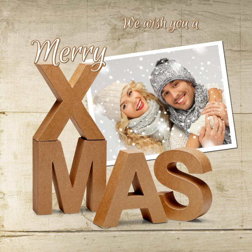 Kerstkaarten - Kerstkaart Merry X-Mas karton 3D op hout 2021