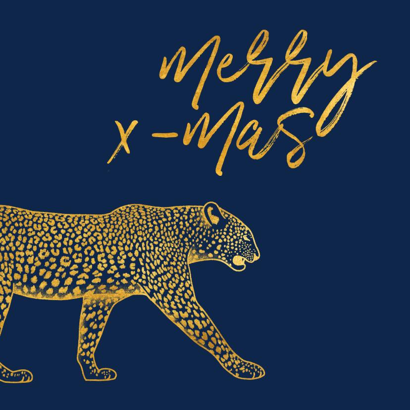 Kerstkaarten - Kerstkaart merry x-mas met gouden luipaard