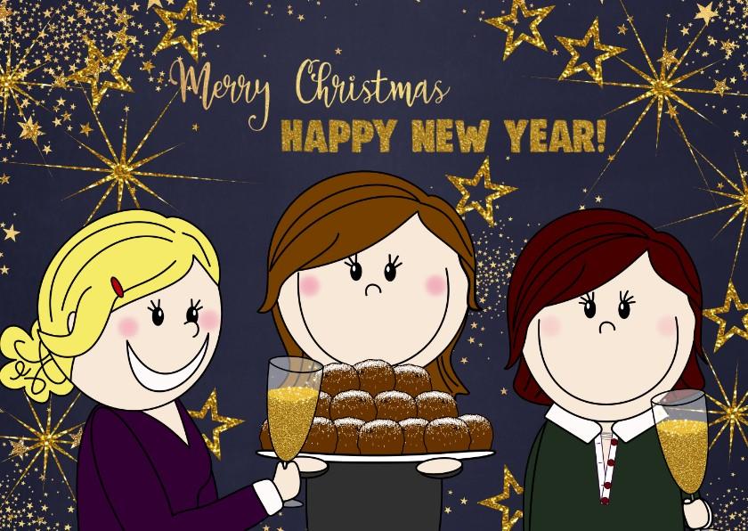 Kerstkaarten - Kerstkaart met 3 proostende vriendinnen