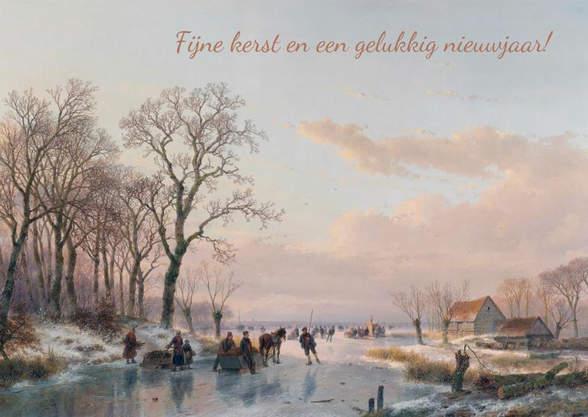 Kerstkaarten - Kerstkaart met afbeelding van A. Schelfhout bevroren vaart