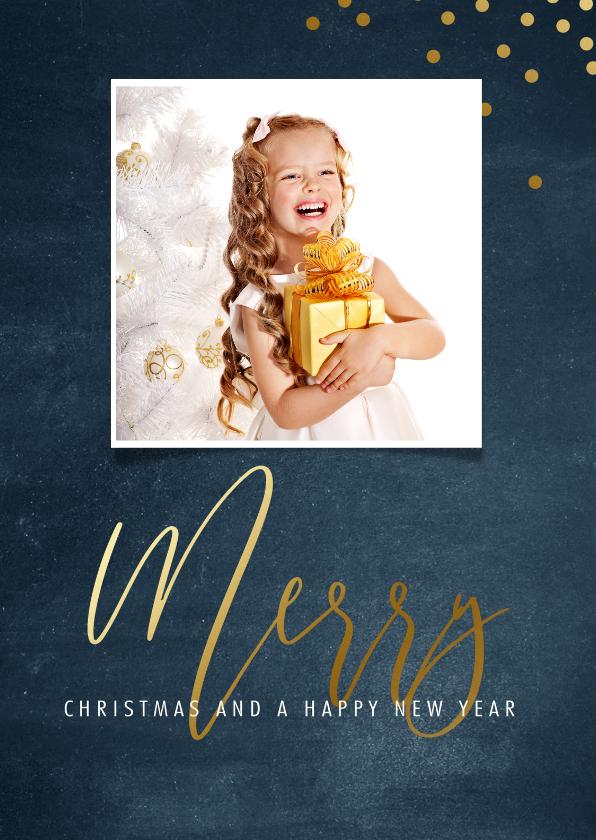 Kerstkaarten - Kerstkaart met blauwe achtergrond en goudlook letters