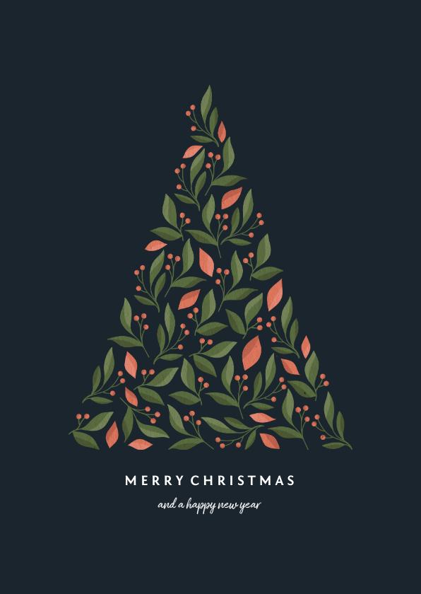 Kerstkaarten - Kerstkaart met botanische kerstboom donker