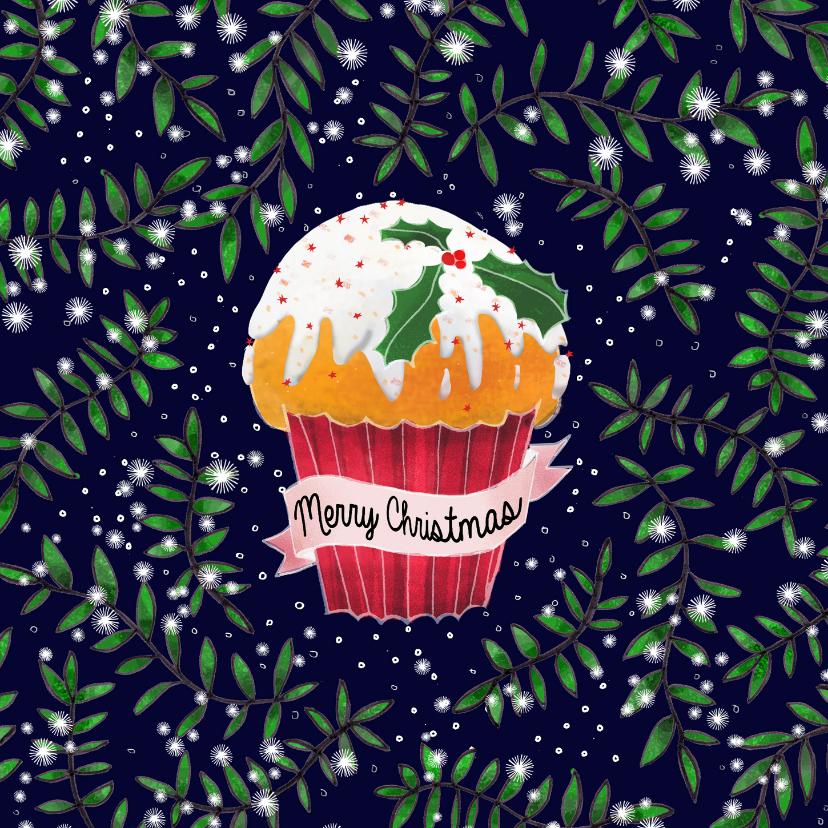 Kerstkaarten - Kerstkaart met cupcake