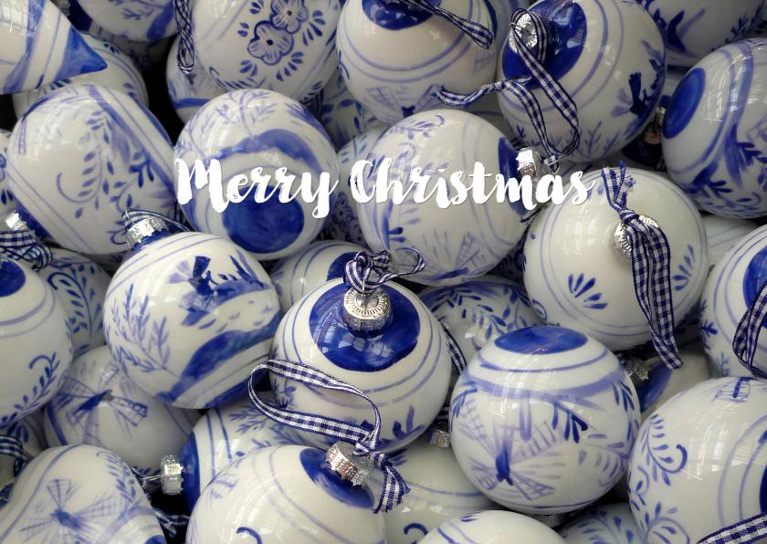 Kerstkaarten - Kerstkaart met Delftsblauwe kerstballen