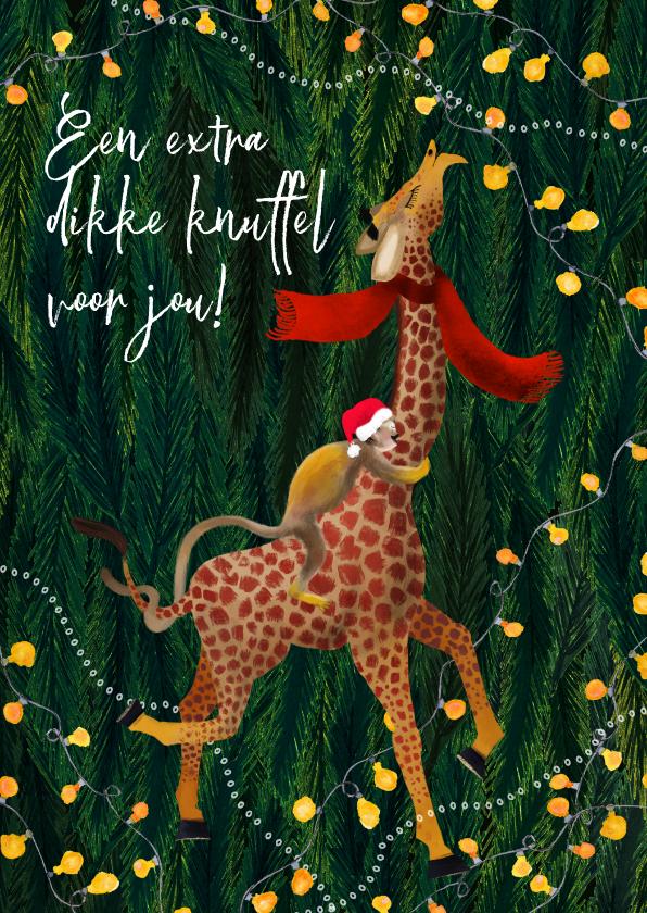 Kerstkaarten - Kerstkaart met een aapje knuffel giraffe