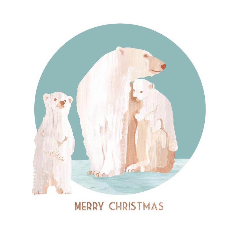 Kerstkaarten - Kerstkaart met een ijsberenfamilie