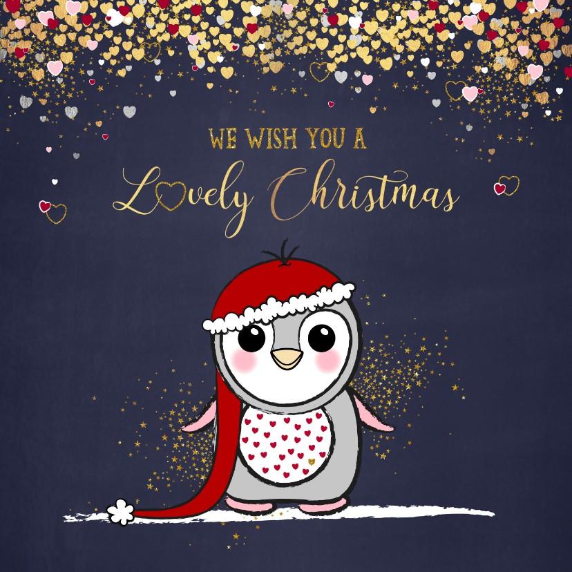 Kerstkaarten - Kerstkaart met een schattige pinguïn en vele hartjes goud