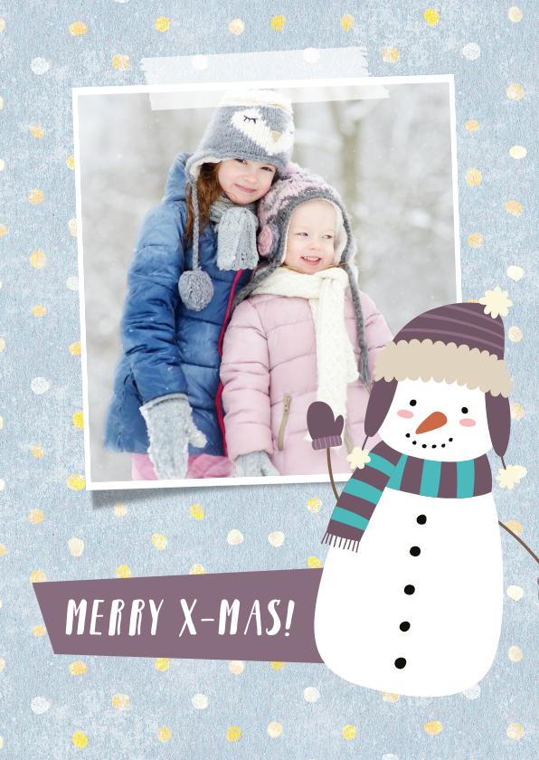 Kerstkaarten - Kerstkaart met eigen foto, sneeuwpop illustratie en stippels