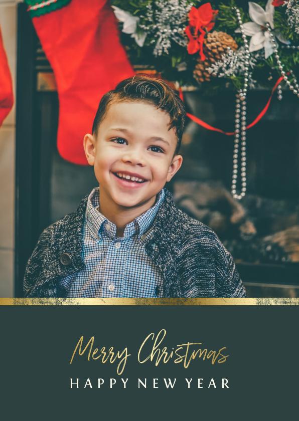 Kerstkaarten - Kerstkaart met foto en gouden accent