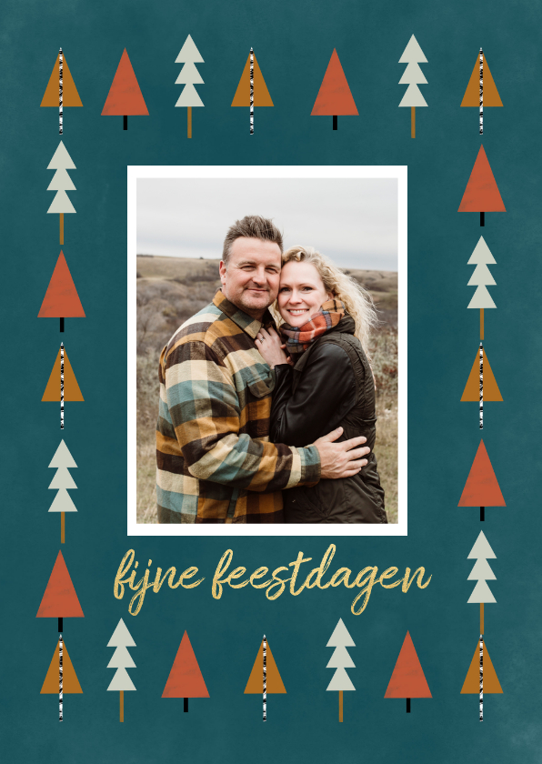 Kerstkaarten - Kerstkaart met foto en kerstbomen illustratie