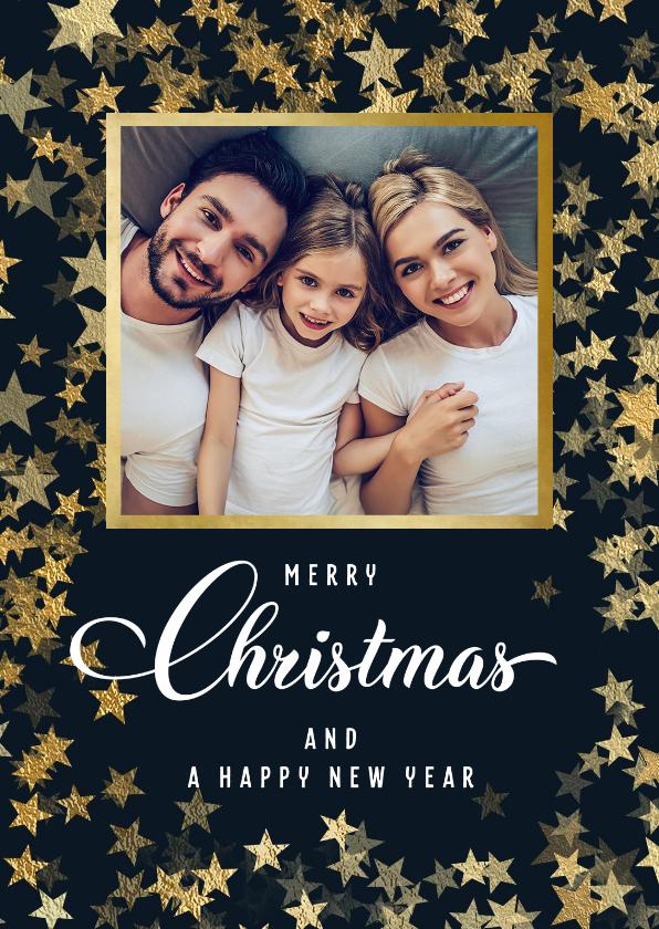 Kerstkaarten - Kerstkaart met foto en sprankelende gouden sterren