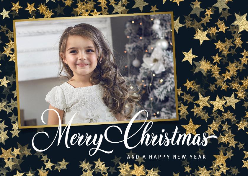 Kerstkaarten - Kerstkaart met foto en sterren van goud